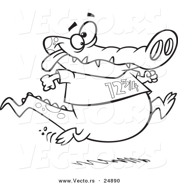Vector of a Cartoon Jogging Alligator - Outlined Coloring Page