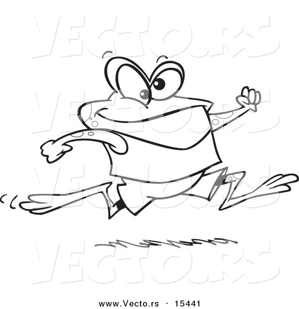 Vector of a Cartoon Jogging Frog - Coloring Page Outline