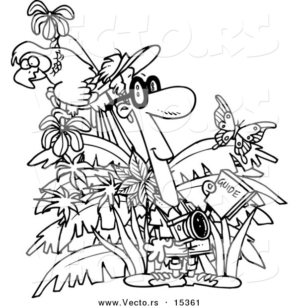 Vector of a Cartoon Jungle Tourist - Coloring Page Outline