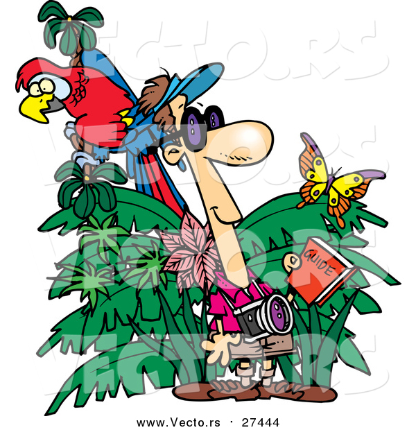 Vector of a Cartoon Jungle Tourist Holding a Guide