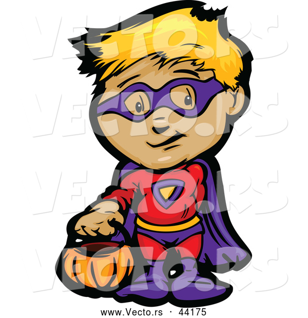 Vector of a Cartoon Kid in a Super Hero Costume