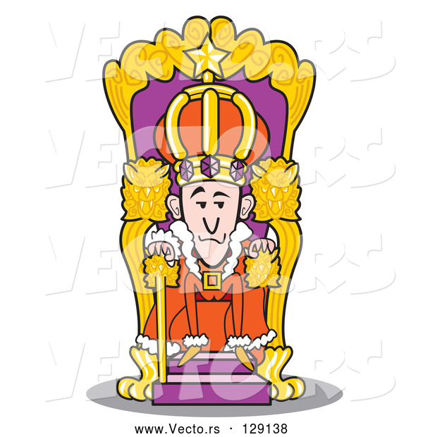 Vector of a Cartoon King Seated at His Throne