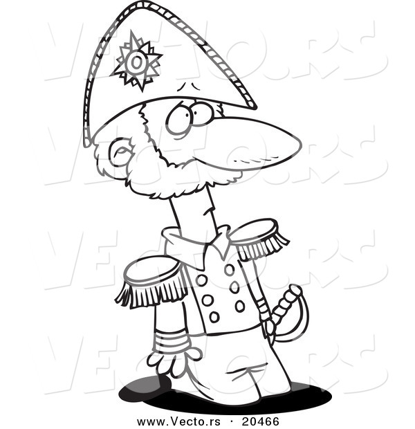 Vector of a Cartoon Kneeling Soldier - Coloring Page Outline