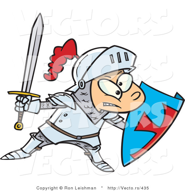 Vector of a Cartoon Knight Boy Pretending with Sword and Shield