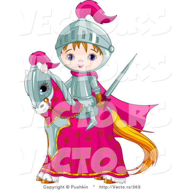 Vector of a Cartoon Knight Boy with Sword on a Horse
