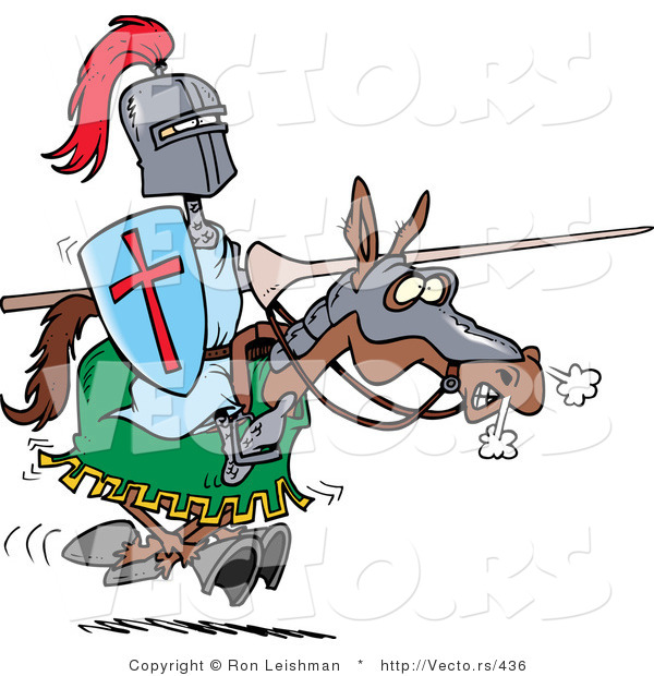 Vector of a Cartoon Knight Jousting with Lance on a Brown Horse