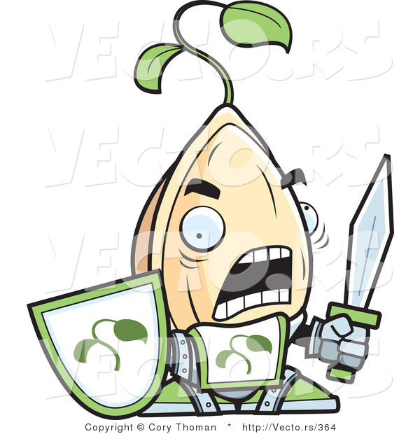 Vector of a Cartoon Knight Plant Seed Character with a Sword and Shield