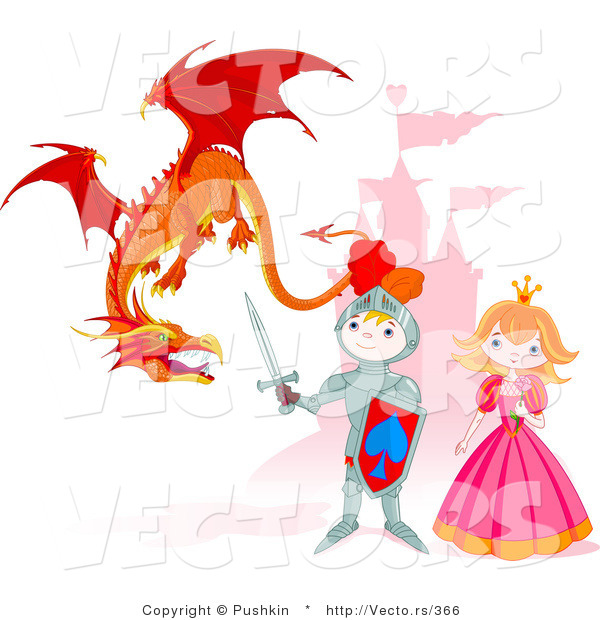 Vector of a Cartoon Knight Protecting Princess from a Dragon with Castle Background