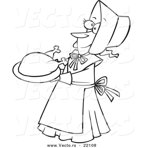 Vector of a Cartoon Lady Pilgrim Serving a Turkey - Outlined Coloring Page