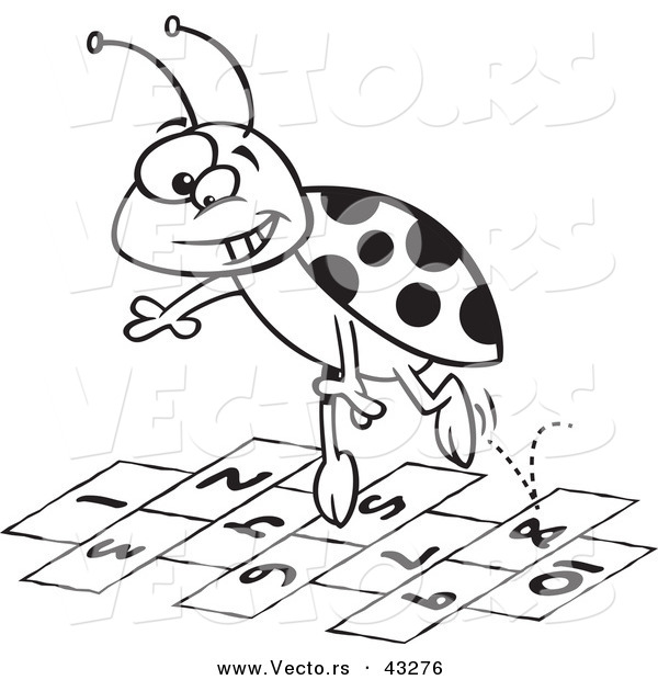 : Vector of a Cartoon Ladybug Jumping over Hopscotch Numbers - Coloring Page Outline