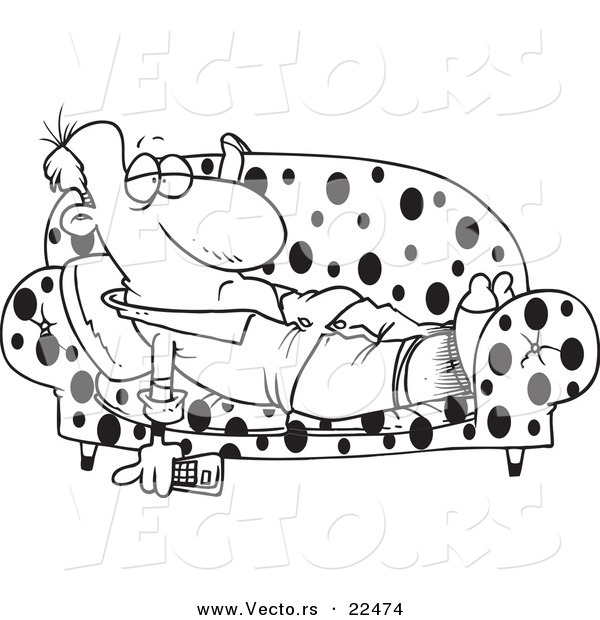 vector of a cartoon lazy man watching tv on a sofa