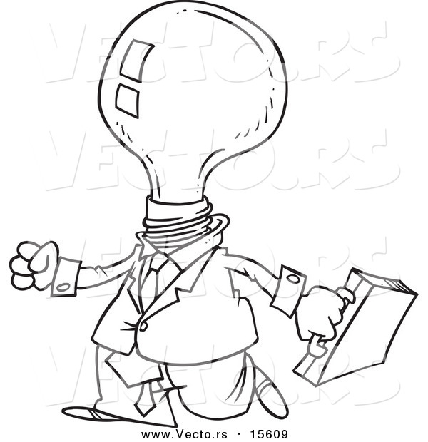 Vector of a Cartoon Light Bulb Headed Businessman - Coloring Page Outline