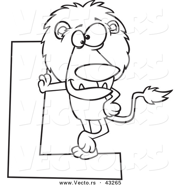 Vector of a Cartoon Lion Leaning Against a Letter L - Coloring Page Outline