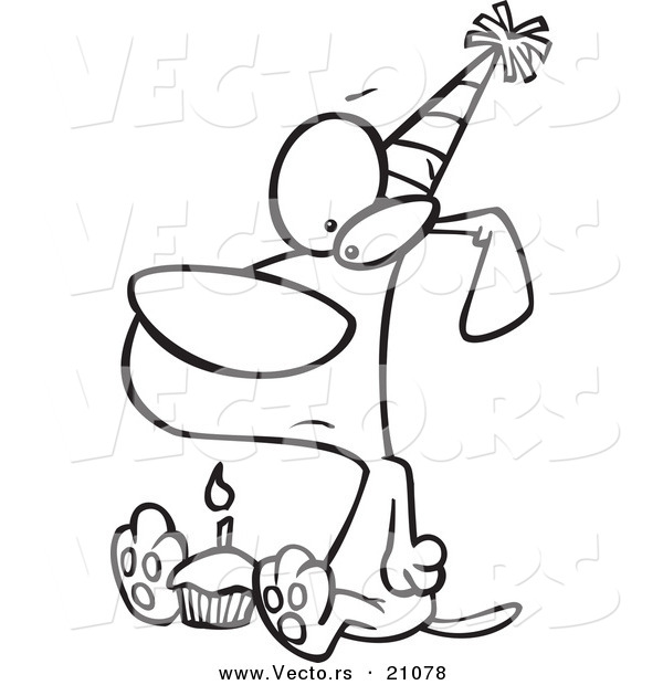 Vector of a Cartoon Lonely Birthday Dog with a Cupcake - Coloring Page Outline