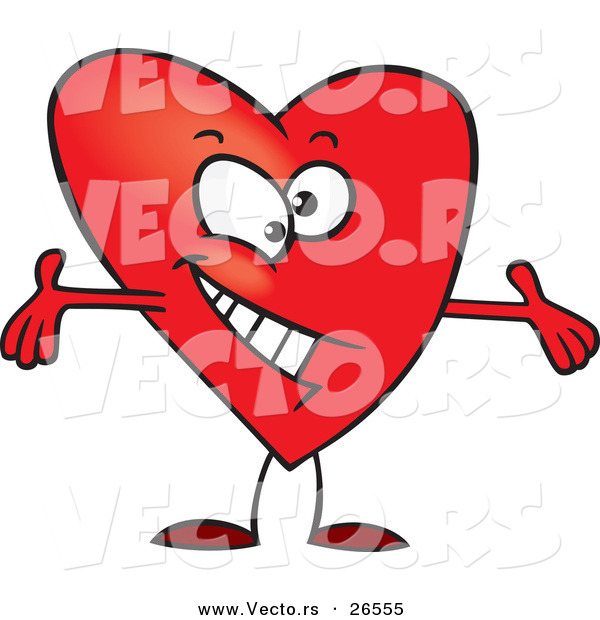 Vector of a Cartoon Love Heart Character with Open Arms