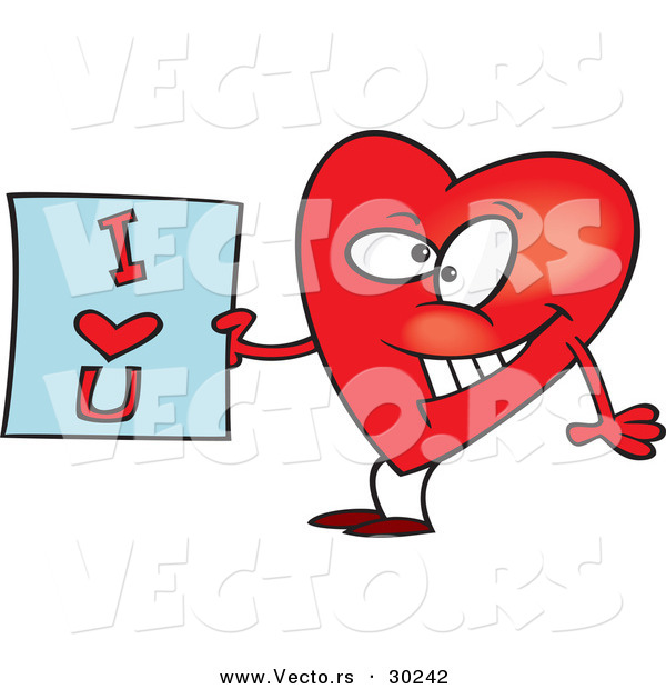Vector of a Cartoon Love Heart Holding an I Love You Sign