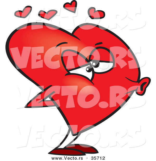 Vector of a Cartoon Love Heart Puckered for a Kiss
