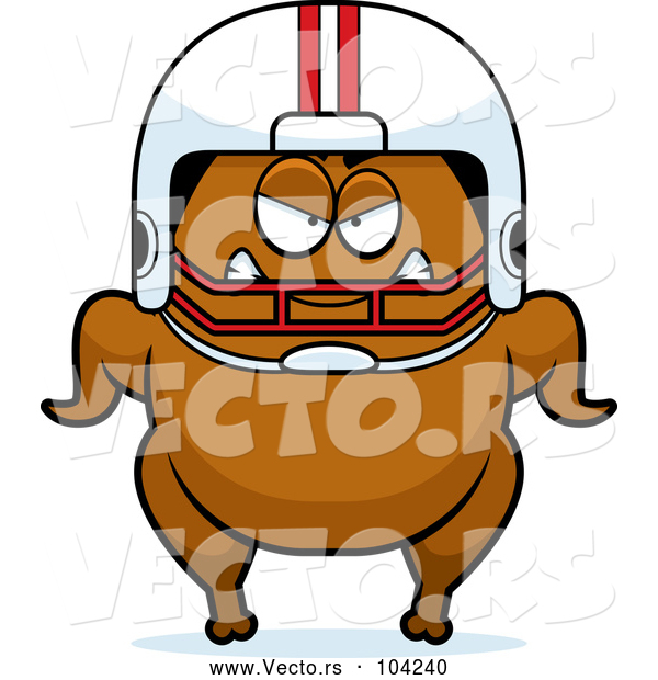 Vector of a Cartoon Mad Football Turkey Character