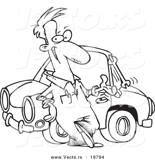Vector of a Cartoon Male Auto Mechanic Tossing a Wrench - Outlined Coloring Page