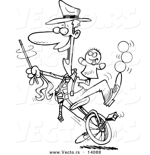 Vector of a Cartoon Male Entertainer Doing Tricks on a Unicycle - Coloring Page Outline