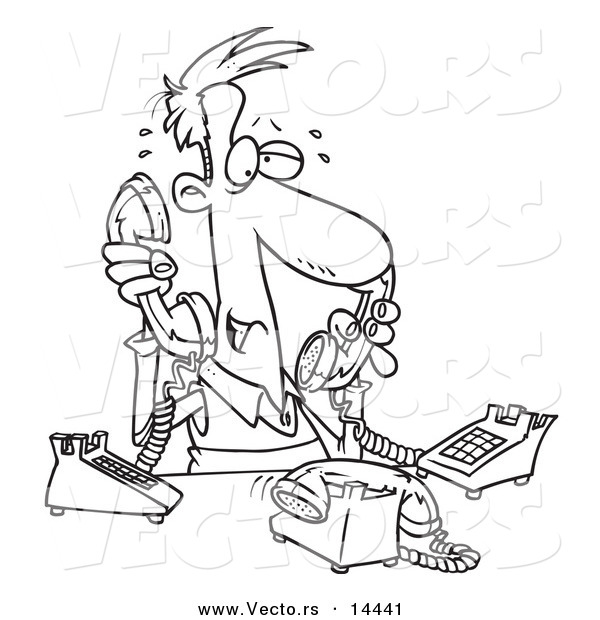 Vector of a Cartoon Male Telemarketer Handling Multiple Lines - Coloring Page Outline