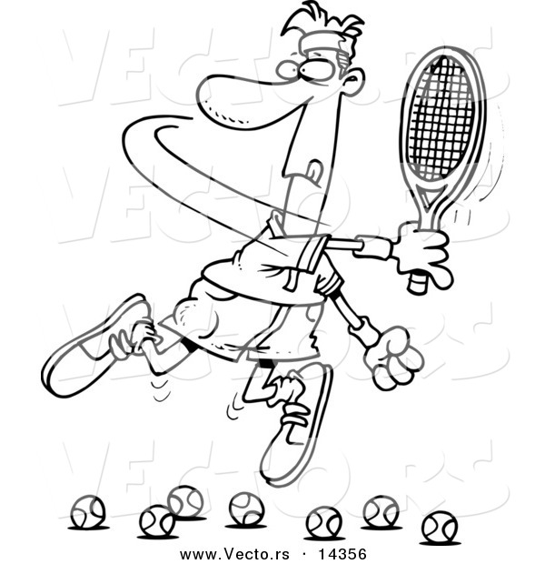Vector of a Cartoon Male Tennis Player Trying to Hit Balls - Coloring Page Outline
