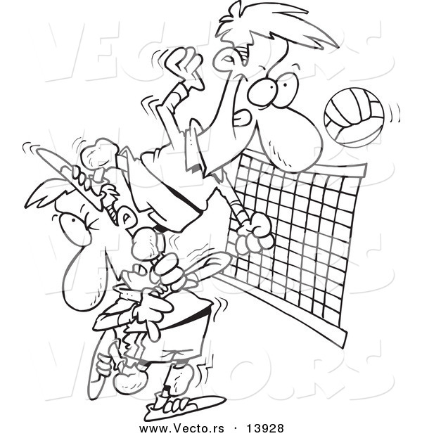 Vector of a Cartoon Male Volleyball Player Stepping on a Team Mate to Hit the Ball - Coloring Page Outline