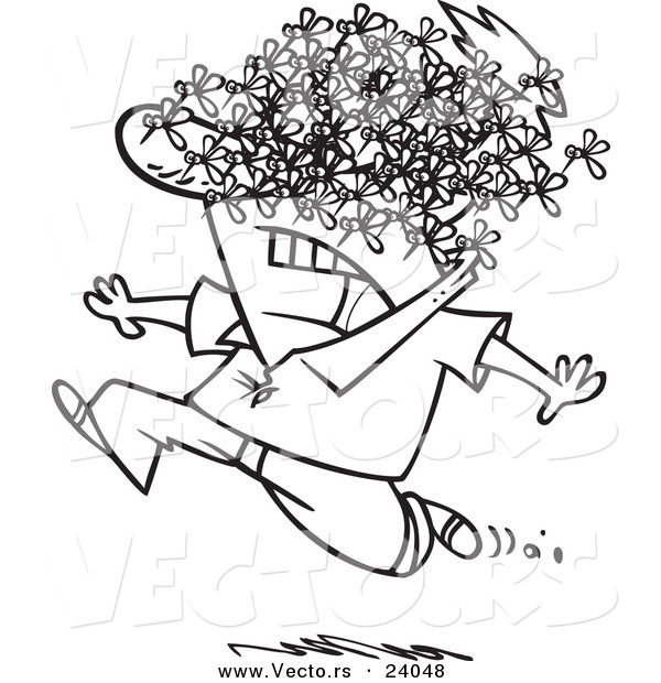 Vector of a Cartoon Man Being Attacked by a Swarm of Bees - Coloring Page Outline