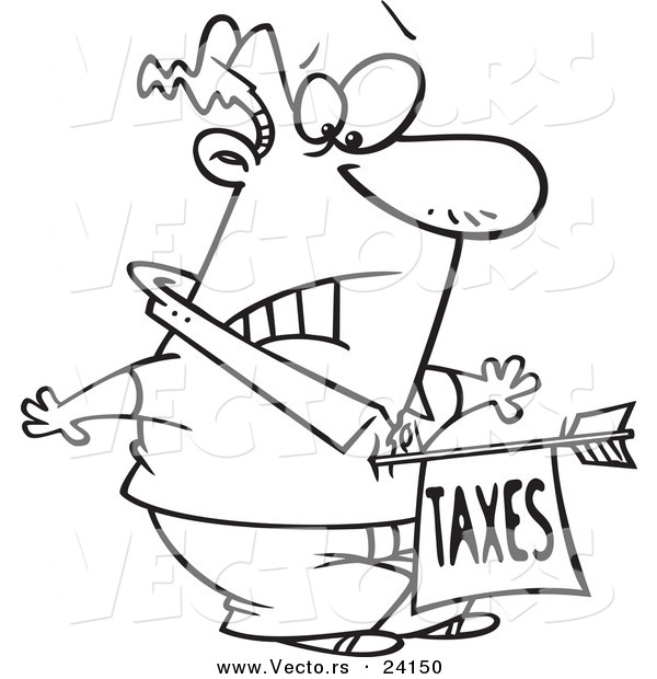: Vector of a Cartoon Man Being Struck with a Taxes Arrow - Coloring Page Outline