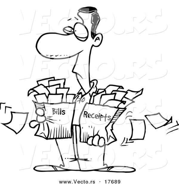 Vector of a Cartoon Man Carrying Bags of Bills and Receipts - Coloring Page Outline
