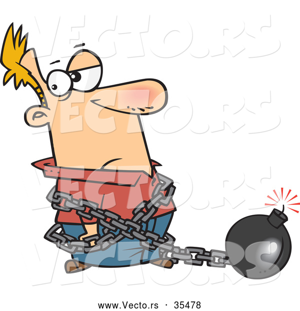 Vector of a Cartoon Man Chained to a Lit Bomb
