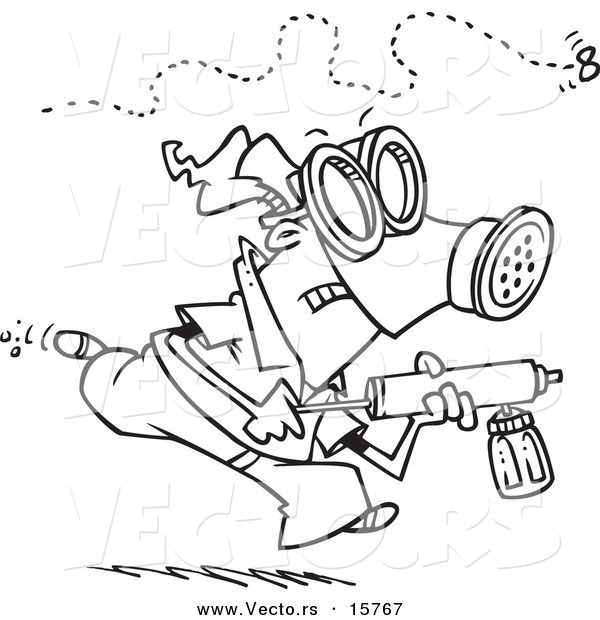 Vector of a Cartoon Man Chasing down an Annoying Fly with Bug Spray - Outlined Coloring Page Drawing