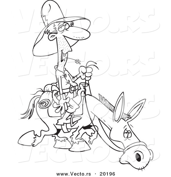 Vector of a Cartoon Man Chewing on Straw and Riding a Horse - Outlined Coloring Page