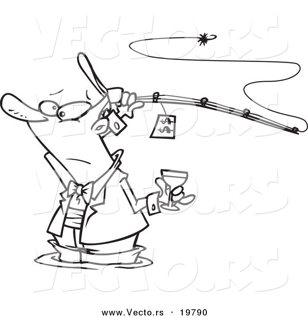 Vector of a Cartoon Man Fancy Fishing with Wine - Outlined Coloring Page
