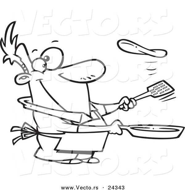 Vector of a Cartoon Man Flipping a Flapjack - Outlined Coloring Page