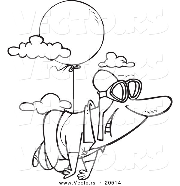 Vector of a Cartoon Man Floating Through the Sky with a Balloon - Coloring Page Outline