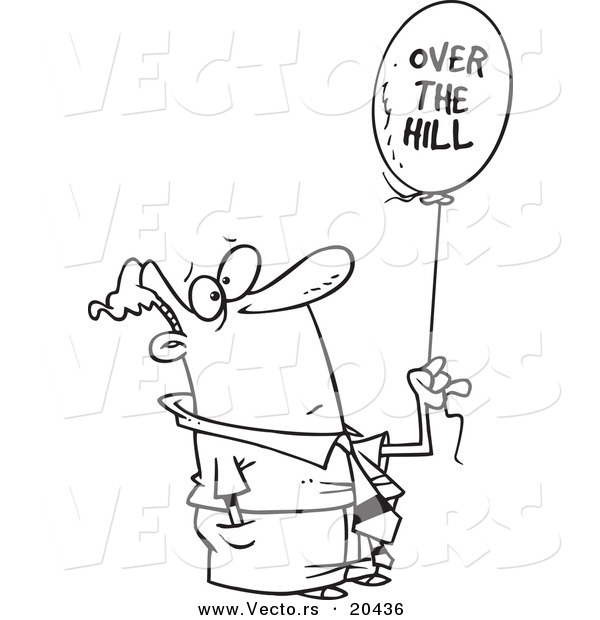 Vector of a Cartoon Man Holding an over the Hill Balloon - Coloring Page Outline