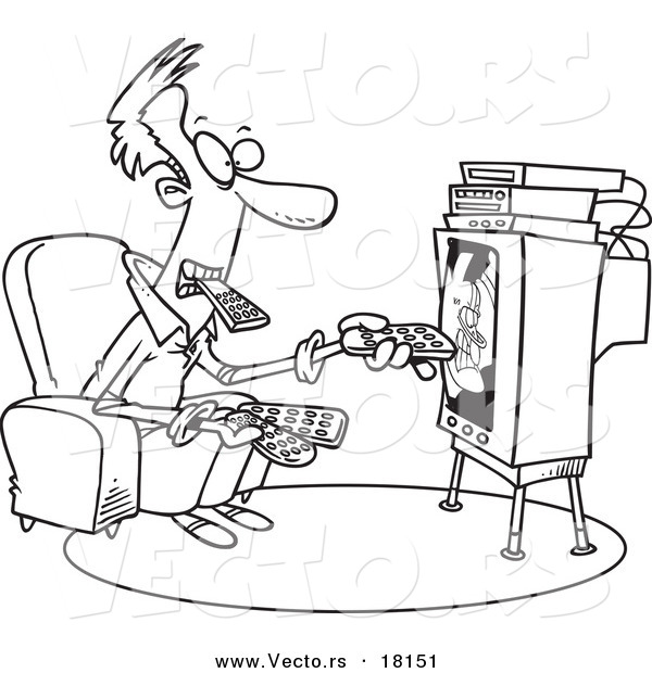 Vector of a Cartoon Man Holding Many Remotes and Watching Tv - Outlined Coloring Page