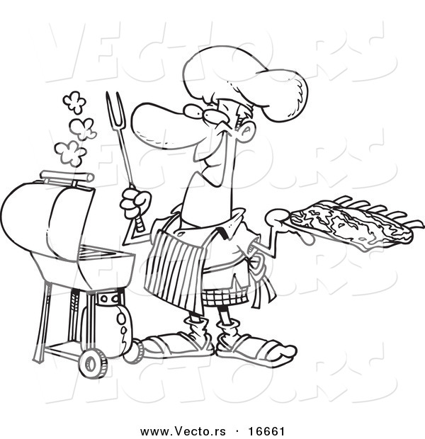 Vector of a Cartoon Man Holding Ribs by His Bbq - Outlined Coloring Page Drawing