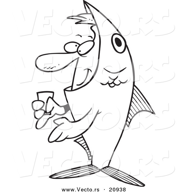 Vector of a Cartoon Man in a Fish Costume - Coloring Page Outline