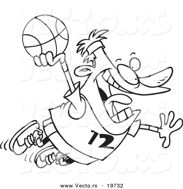 Vector of a Cartoon Man Making a Slam Dunk - Outlined Coloring Page