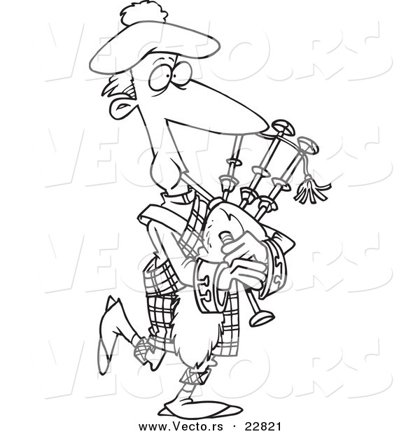 Vector of a cartoon man playing bag pipes coloring page for Bong coloring pages