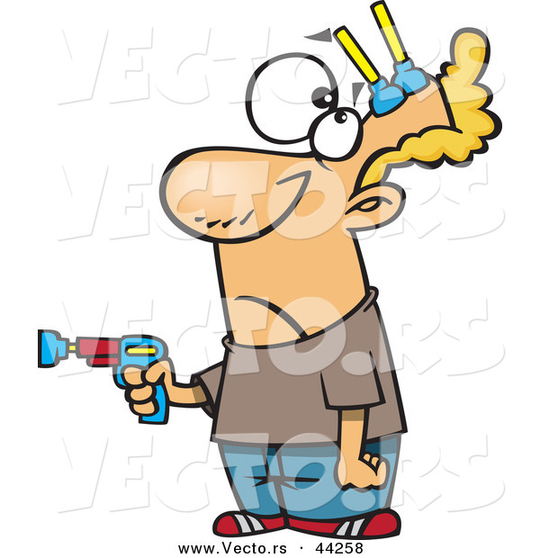 Vector of a Cartoon Man Pointing Toy Gun While Getting Shot with Nerf Darts to His Head