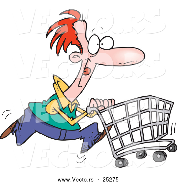 Vector of a Cartoon Man Pushing a Shopping Cart While Running