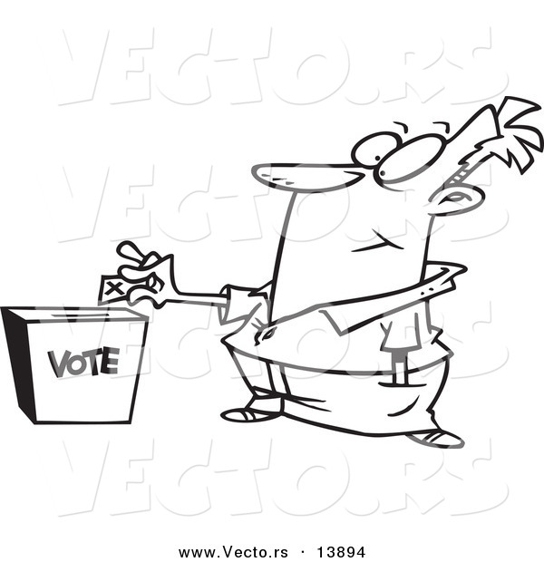Vector of a Cartoon Man Putting His Ballot into a Vote Box - Coloring Page Outline
