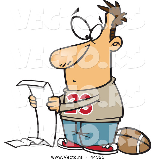Vector of a Cartoon Man Reading a Long to Do List Before Playing Football