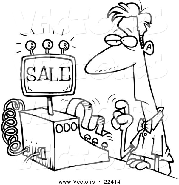 Vector of a Cartoon Man Ringing in a Sale - Coloring Page Outline