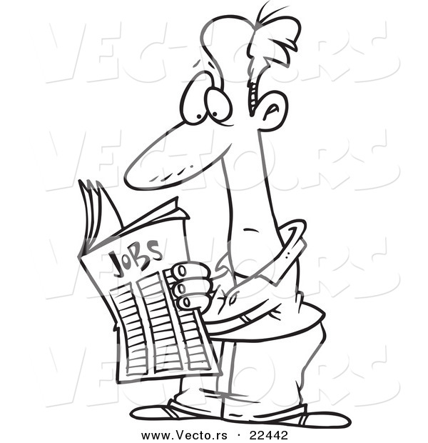 Vector of a Cartoon Man Seeking for a Job in the Classifieds - Coloring Page Outline