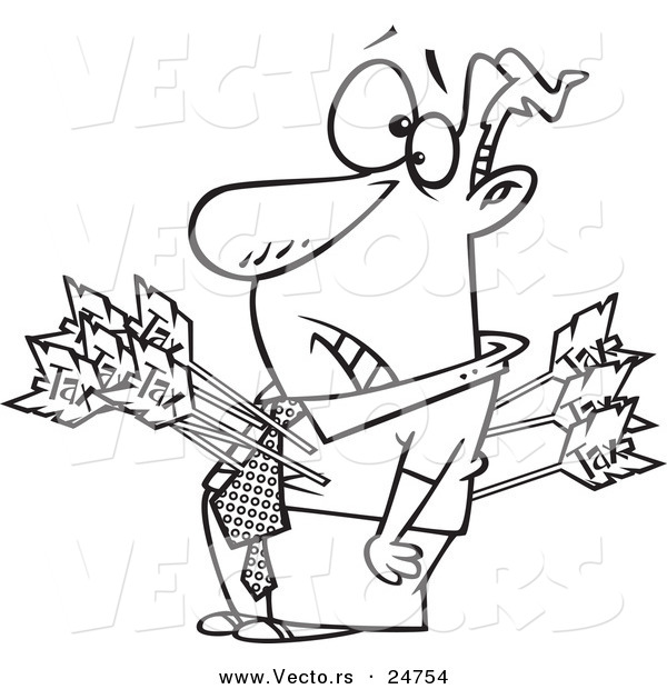 Vector of a Cartoon Man Shot with Tax Arrows - Outlined Coloring Page