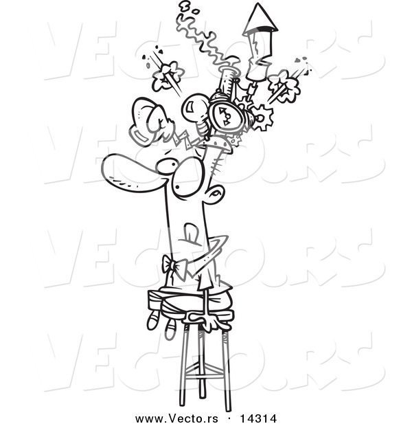Vector of a Cartoon Man Sitting on a Stool and Wearing a Thinking Cap - Coloring Page Outline